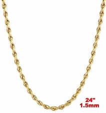 ITALIA 14k Oro Amarillo Capa en plata de ley 925 Clásico Soga Cadena 1.5mm 61cm