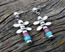 0b35f1f69872 pendientes de mujer baño de plata y cristal rosa y azul