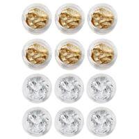 12 PCS Feuilles/Paillettes d'or et argent de ongles/Nail Art/Gel UV francai U9E6