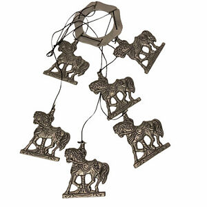 Carson 1993 Carousel Merry Go Horse Western Wind Chime Pewter Metal Ground Metal