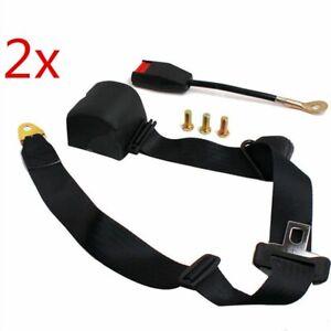 2 set cintura di sicurezza per auto retrattile e regolabile universale a 3 punti