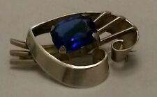 Huge Sterling Silver Old Hand-Crafted Artisan Brooch w/Ceylon Blue Sapphire Crys