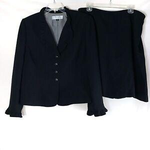 Tahari Arthur S Levine 2 Piece Skirt Suit Size 14P Black White Pinstripe Ruffle