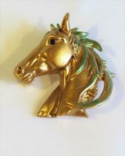 CG6404 SUPERB HORSE'S HEAD ENAMELLED BROOCH