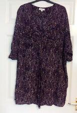 Monsoon Ladies Black Brown Polka Dot Spotty Short Sleeve Top Sz L Large 16 18
