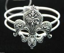Antique Silver Scrollwork Fleur de Lis Cuff Bracelet