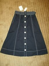 JOIE Mayaly Flared Belted Cotton Skirt Midnight Blue- Size 2- NWT