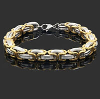 316L Stainless Steel Men Women Chain Gold Silver Bangle Cuff Wristband Bracelet