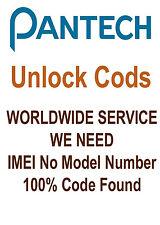 PANTECH UNLOCK CODE PANTECH  P7000 IMPACT P7040 LINK P7040P