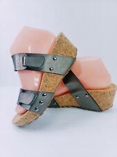 Pierre Dumas Fair-5 women's❤ leather cork wedges sandals siz 8