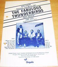 "THE FABULOUS THUNDERBIRDS UK PROMO RETAIL INFO SHEET ""BUTT ROCKIN"" ALBUM IN 1981"