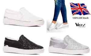 Womens-Ladies Flat Glitter Sneakers Slip On Pumps Casual NEW*UK STOCK