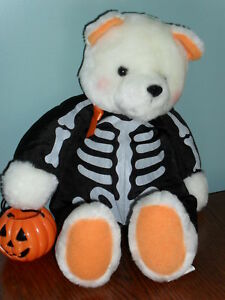 "HALLMARK HALLOWEEN TRICK or TREAT BEAR 14"" plush wearing Skeleton Costume"