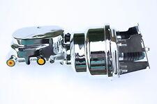 "7"" Dual Chrome Power Brake Booster Kit Chrome MC Impala Bel Air Drum/Drum 4L6"
