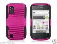 ZTE Concord V768 T-Mobile Mesh Hybrid Case Skin Cover Hot Pink Black