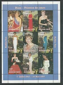 BURKINA FASO # 1090A, 1090K, 1127A MNH PRINCESS DIANA MEMORIAL Miniature Sheets