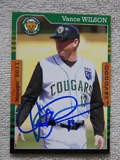 Kansas City Royals Vance Wilson Signed 2011 Kane County Cougars Card Auto