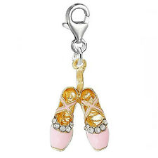 Pink Ballerina Ballet Shoes Clip on Pendant for European Charm Jewelry with Lobs