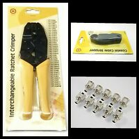10pcs RF N Type Male Crimp LMR400 + Cable Stripper + Ratchet Crimping Tool