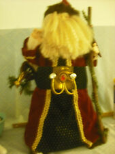 "24"" Santa Claus St Nicholas Christmas Bisque Face Red Velveteen Faux Fur Robe"