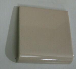 Vintage Light Brown Tan Coffee Bullnose Curve Base Ceramic Tile Piece NOS 4 1/4