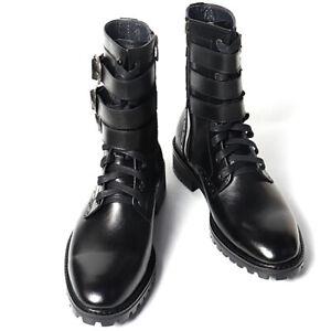 Men's black leather triple buckle strap side zip closure ankle walker boots