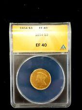 1854 $3 • GOLD LIBERTY • THREE DOLLAR PRINCESS • ANACS EF40  RARE!!