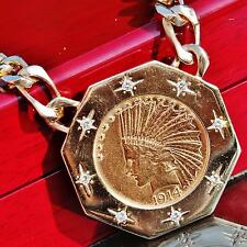 """1914 $10 Indian head gold coin 0.75ct diamond 14k yellow gold 20"""" necklace 99.4g"""