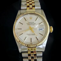 Rolex 2Tone 14K Gold/Stainless Steel Datejust Watch Silver Dial Jubilee 16013