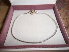 Genuine Authentic Pandora Silver & 14ct Gold Essence Bracelet 596003 - 21cm