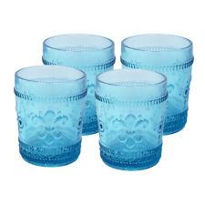 Fleur-De-Lys, juice glass tumbler, Drinkware glass, cap 10 oz, Blue,set of 4