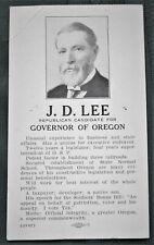 J. D. Lee - Republican for Oregon Governor - orig 1922 Campaign Card