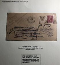 1942 Coventry England Cover To Ls Irving Middle East Forces Reported Deceased