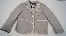 BONPOINT Baby Toddler Grey & Cream Cotton Linen Striped Formal Blazer Jacket 3Y