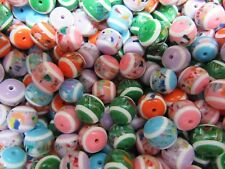 Huge Lot of 1,000 12MM Assorted Mosaic Confetti Round Resin Craft Jewelry Beads