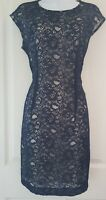 Womens Jaeger Dress size 12 navy blue lace work occasion evening pretty pencil