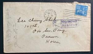1950 Kalamazoo MI USA Korean War Censored Cover To Busan Korea
