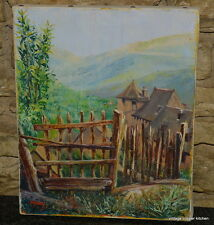 french vintage oil painting through the gate Simon Pasek de format 22x27cm