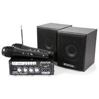 KIT KARAOKE MISCELATORE AMPLIFICATORE CON ALTOPARLANTI E 2 MICROFONI MP3/USB/SD/
