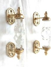 2 Ps Clear Glass Door Handle w Brass Puller Cabinet Kitchen Knobs Home Decor