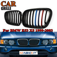 Gloss Black M Color Front Center Grille for BMW 99-03 X5 E53 Grill Kidney Hood