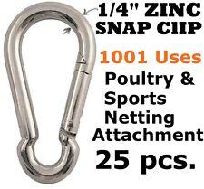 "25 PCS 1/4"" ZINC CARABINER SNAP CLIPS SPORTS NETTING BASEBALL BATTING CAGE GOLF"