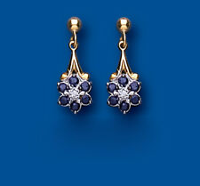Sapphire and Diamond Earrings Yellow Gold sapphire Drop Earrings Cluster Drops