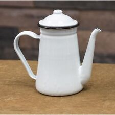 Vintage Black Rim White Enamel Coffee Pot Classic Farmhouse Country Food Saf