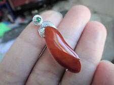 18k Solid White Gold Diamond A Jadeite Jade Red Lucky Melon Pendant