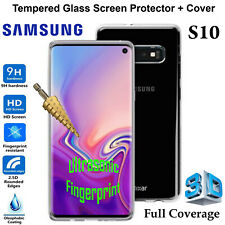 Samsung Galaxy S10 Clear Case Cover & Tempered Glass Front Screen Protector