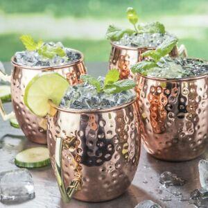 Moscow Mule Becher 4er Set Kupferbecher Tasse aus Edelstahl im Kupfer Look