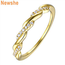 Newshe Twisted Wedding Band Eternity Ring Yellow Gold Sterling Silver Round Cz