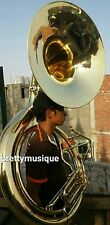 "SOUSAPHONE BIG BRASS GOLD JUMBO SIZE 25"" BELL + MOUTHPC+ CASE BOX +FREE SHIPPING"