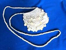 NEW Beaded Tassels Sequin Ivory Shoulder Evening Bag Velcro Closure